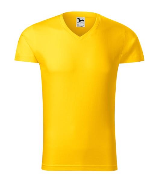 T-shirt men's Malfini Slim Fit V-neck - Yellow / M