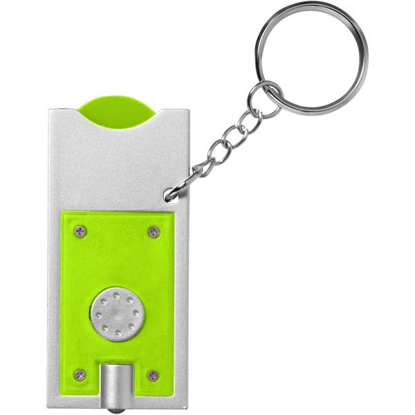 Klíčenkový držák na žeton Allegro s LED svítilnou - Limetka / Stříbrný