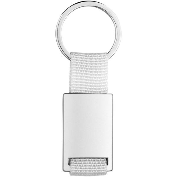 Přívěsek na klíče Alvaro s tkaným páskem - Bílá / Stříbrný