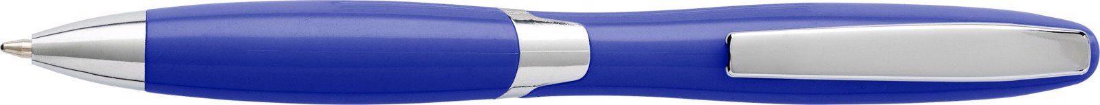 Plastic ballpen with solid colour barrel - Blue