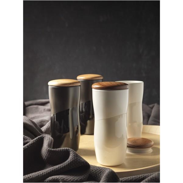 "Vaso de cerámica de 370 ml de doble pared ""Reno"" - Negro intenso"