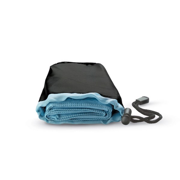 Sport towel in nylon pouch Drye - Blue