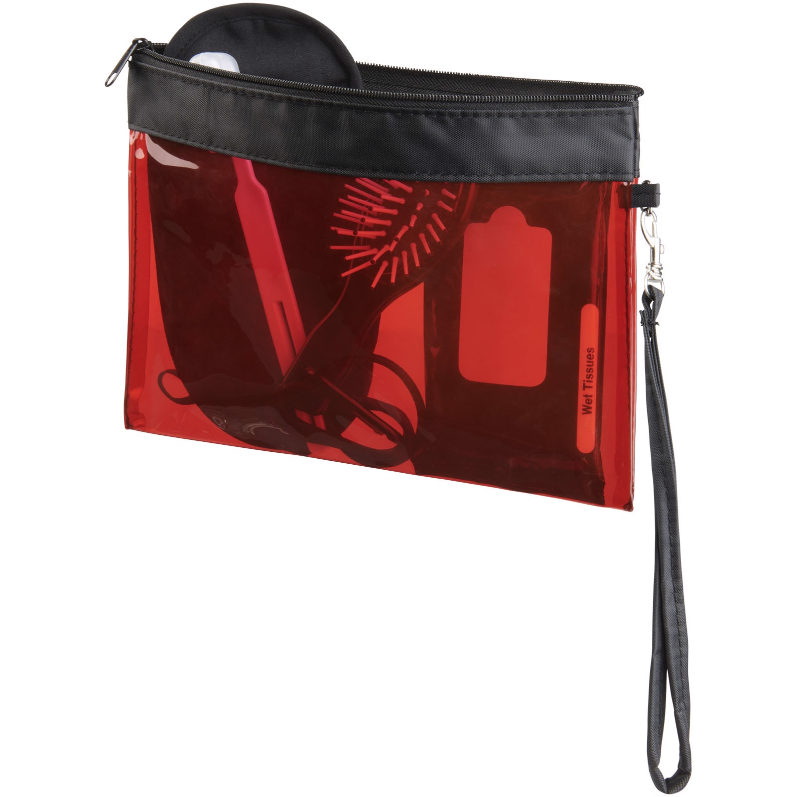 Průhledná cestovní taštička Sid - Transparentní červená
