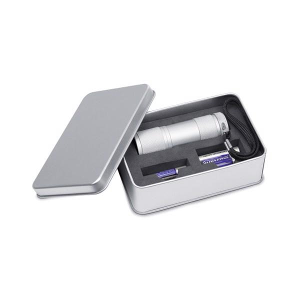 LED torch in tin gift box Led Plus - Matt Silver