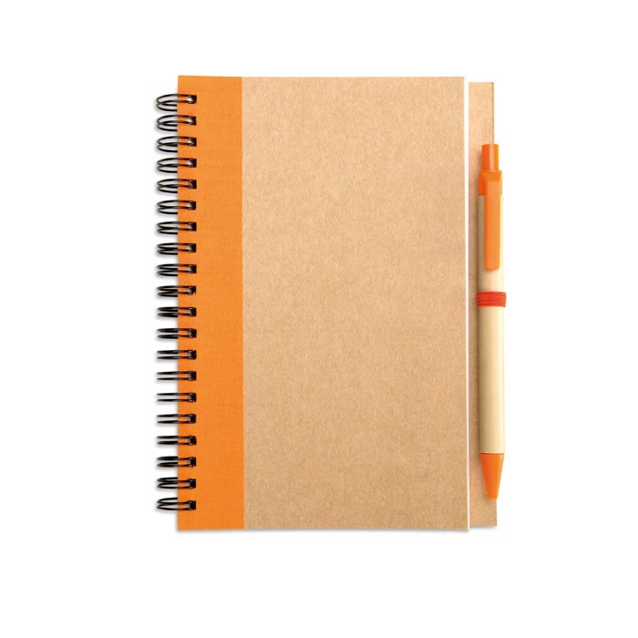 Recycled paper notebook + pen Sonora Plus - Orange