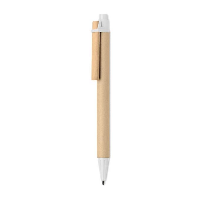 Paper PLA corn wood ball pen Ticino - White