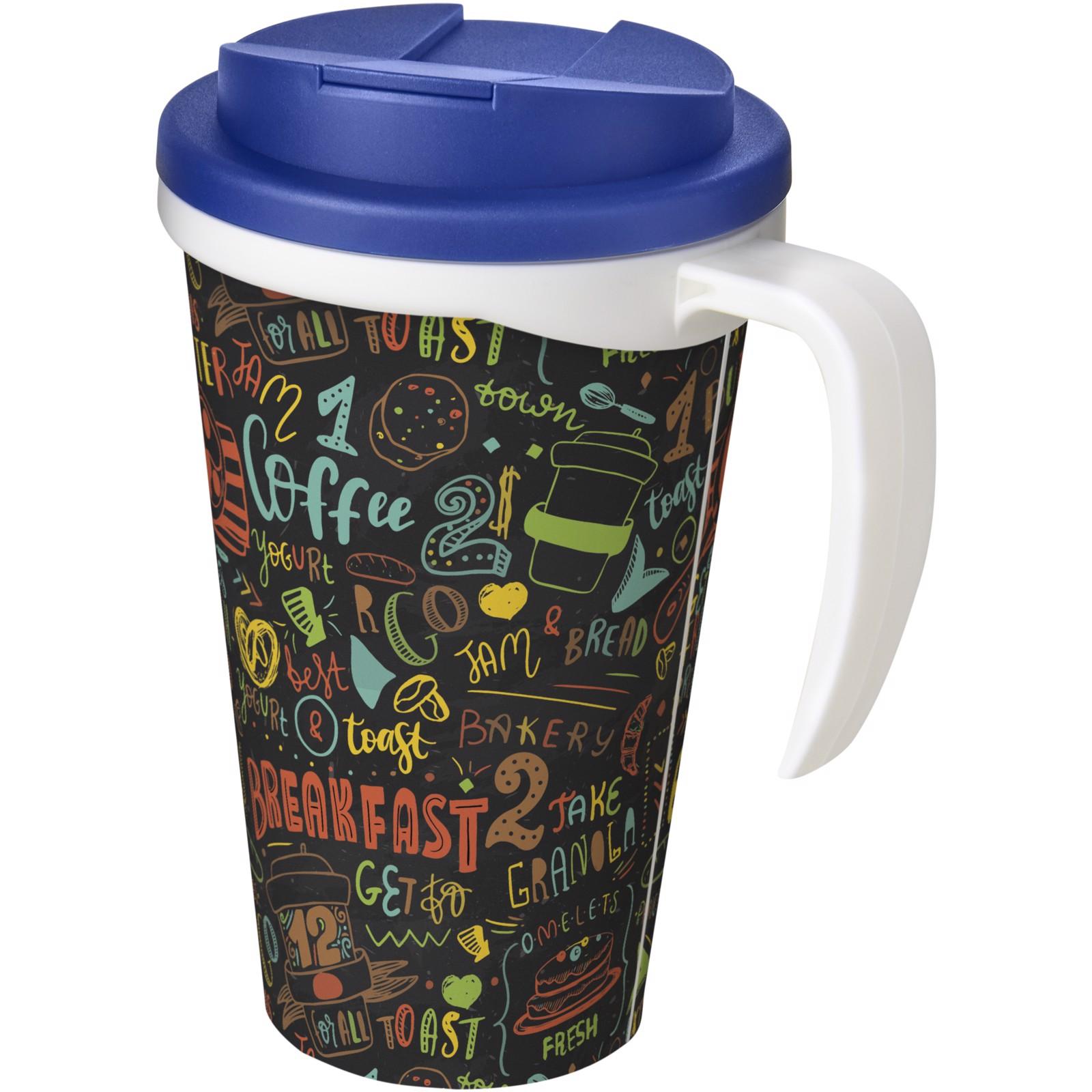 Brite-Americano Grande 350 ml mug with spill-proof lid - White / Blue