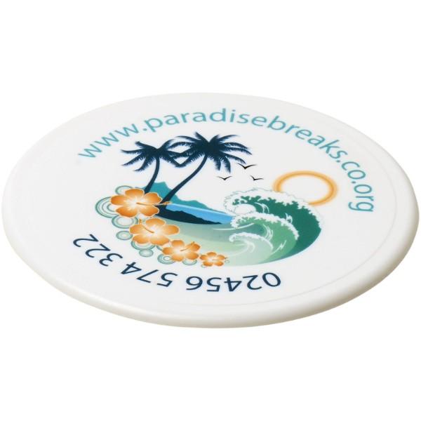 Renzo round plastic coaster - White