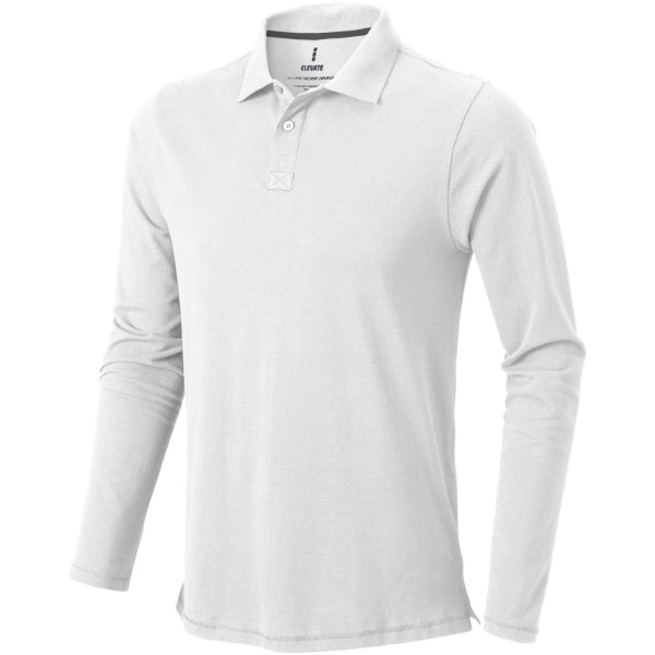 Oakville long sleeve men's polo - White / XXL