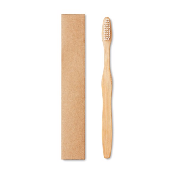 Bamboo toothbrush in Kraft box Dentobrush - White