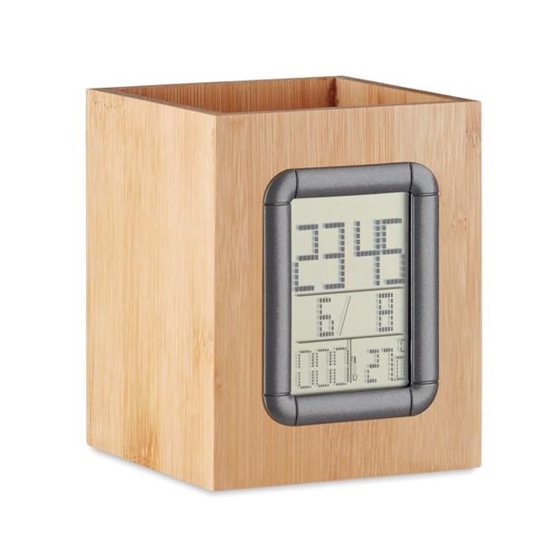 Bamboo penholder and LCD clock Manila