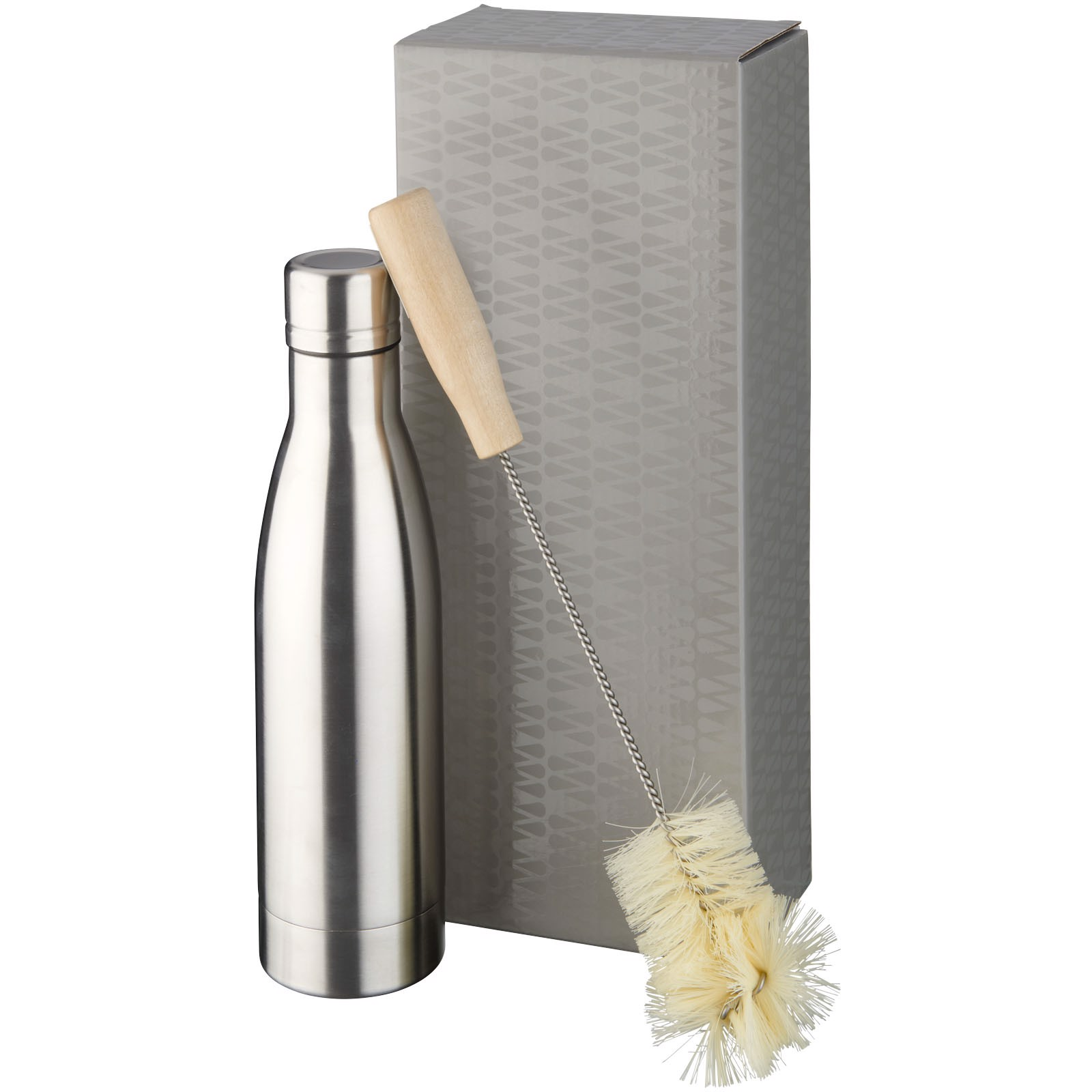 Vasa copper vacuum insulated bottle with brush set - Silver