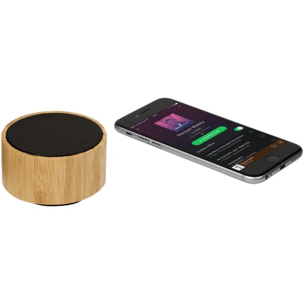 "Altavoz Bluetooth® de bambú ""Cosmos"" - Madera / Negro Intenso"