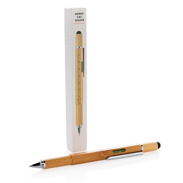 Multifunkční pero 5 v 1 z bambusu