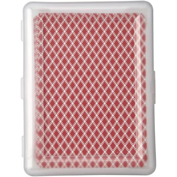 Balíček karet Reno v krabičce - Červená s efektem námrazy / Průhledná