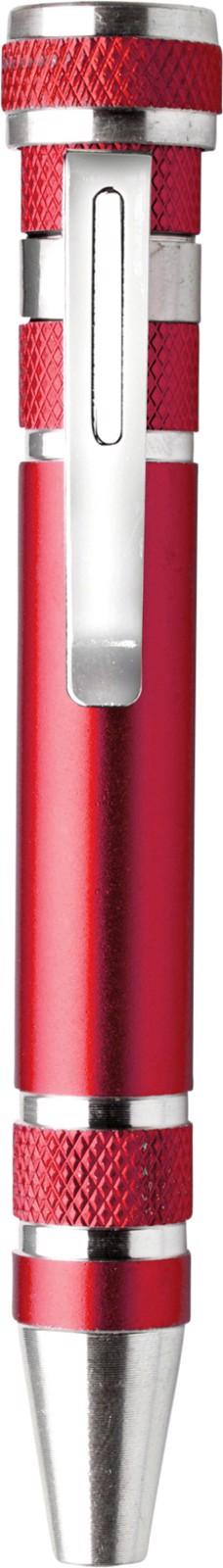 Aluminium pocket screwdriver - Red