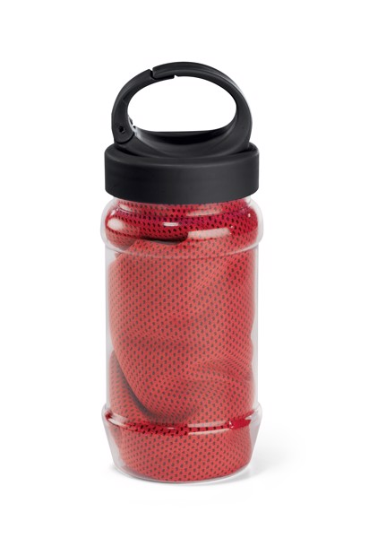 ARTX PLUS. Sports towel with bottle - Red