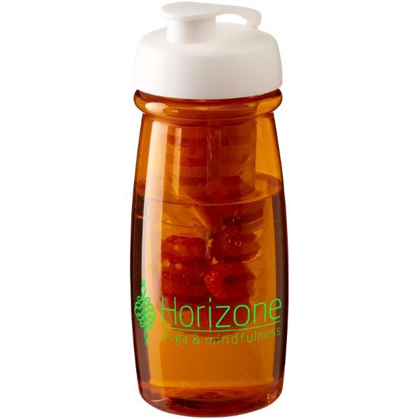 Sportovní láhev s infuzérema vyklápěcím víčkem H2O Pulse® 600 ml - Transparentní oranžová / Bílá