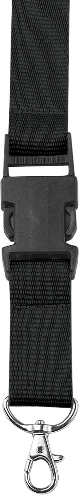 Polyester (300D) lanyard and key holder - Black