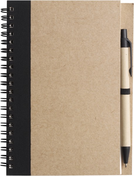 Wire bound notebook with ballpen. - Black