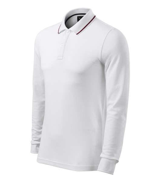 Polo Shirt Gents Malfinipremium Contrast Stripe LS - White / M