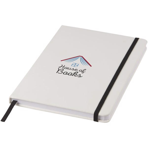 Spectrum A5 white notebook with coloured strap - White / Solid black