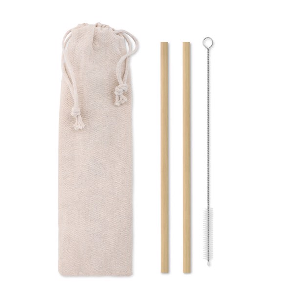 Bamboo Straw w/brush in pouch Natural Straw