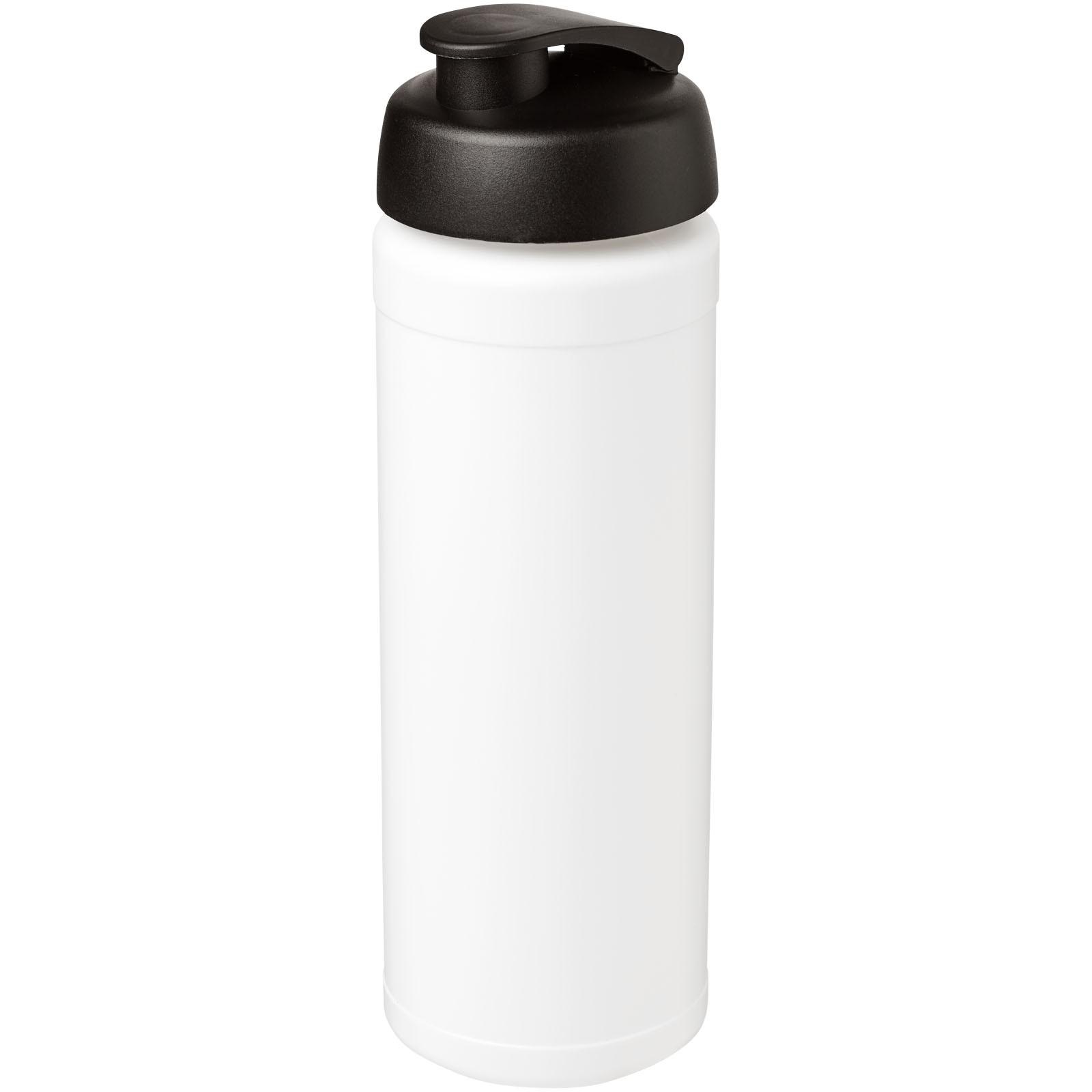 Baseline® Plus grip 750 ml flip lid sport bottle - White / Solid black