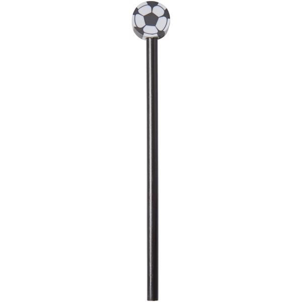 Goal Bleistift mit Radierer in Fußballform - Schwarz
