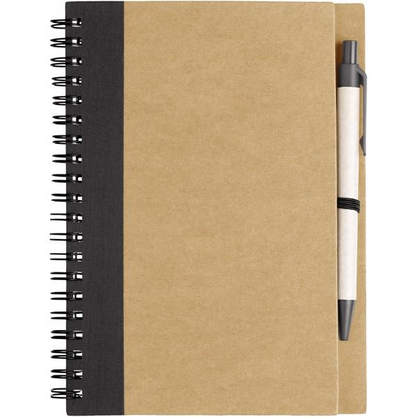 Zápisník s perem Priestly z recyklovaného papíru - Přírodní / Černá