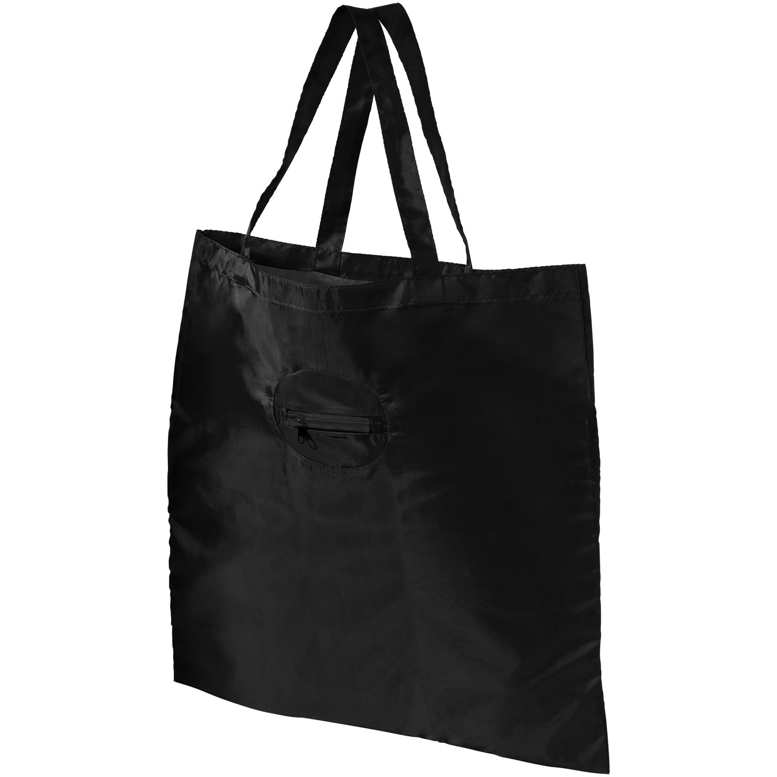 Take-away foldable shopping tote bag with keychain - Solid black