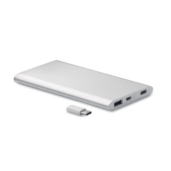 Power bank 4000 mAh with type-C Powerflatc - Matt Silver