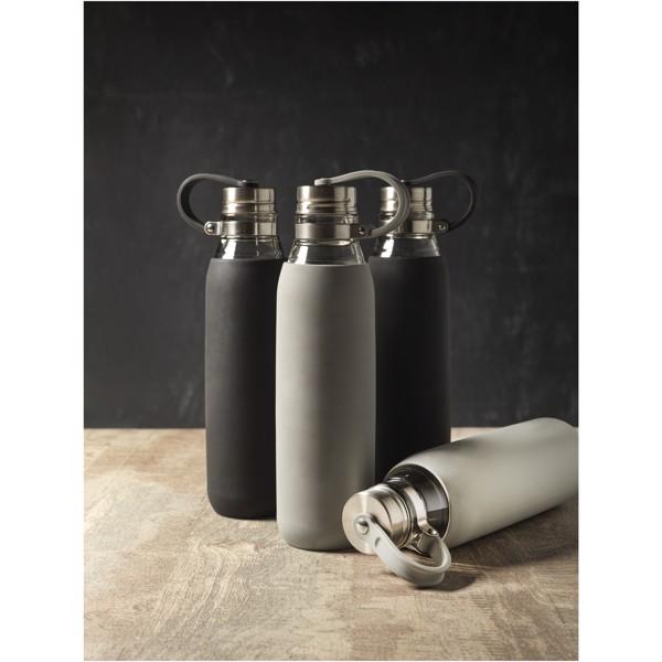 Oasis 650 ml glass sport bottle - Solid Black