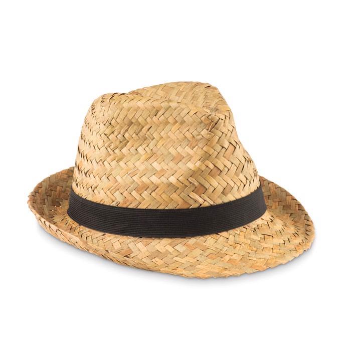 Sombrero de paja natural Montevideo - negro