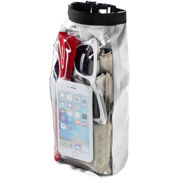 Tourist 2 litre waterproof bag with phone pouch - White