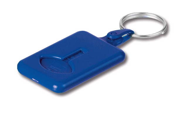 BUS. Coin-shaped keyring for supermarket trolley - Blue