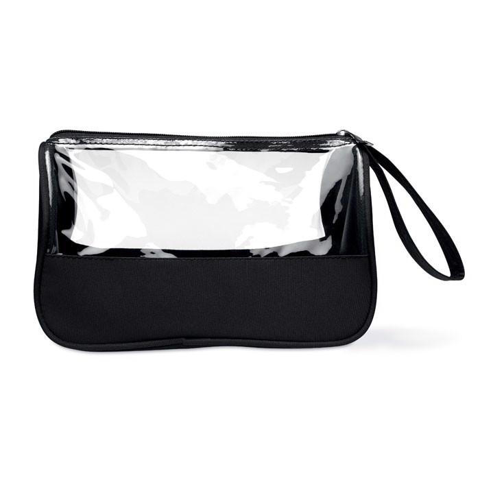 Toiletry bag microfiber w PVC Plas - Black