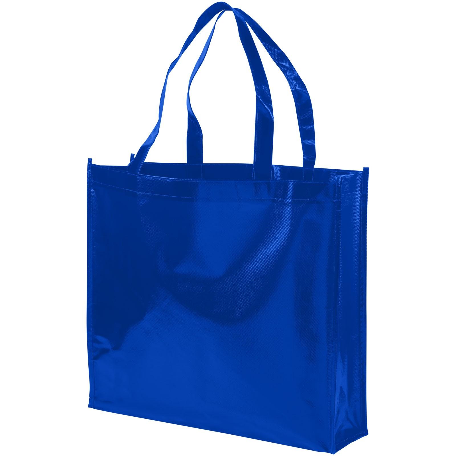 Laminovaná netkaná nákupní odnoska Shiny - Světle modrá