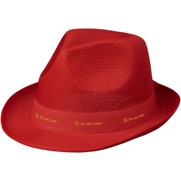 Trilby hat with ribbon - Red