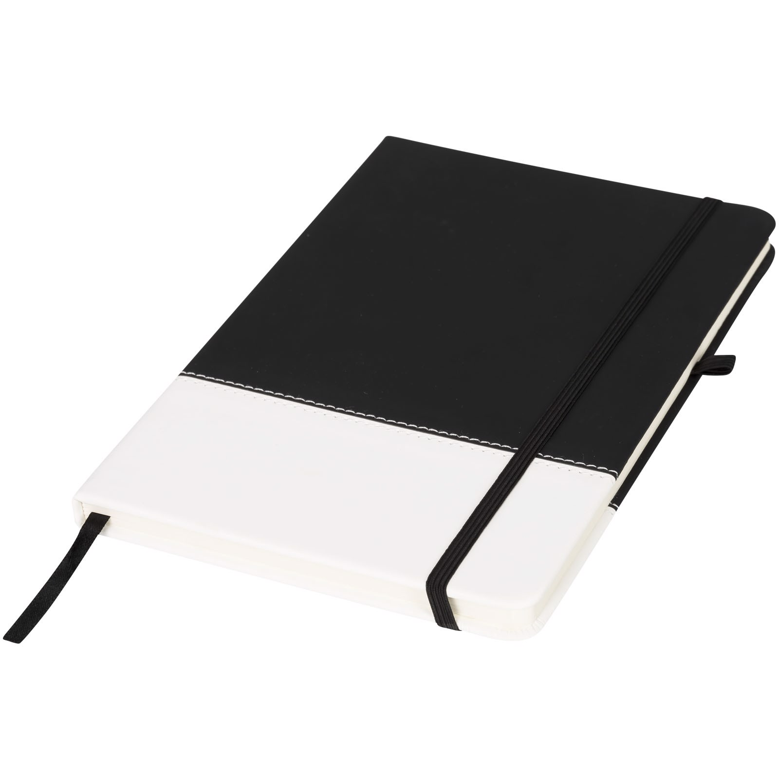 Two-tone A5 colour block notebook - Solid black