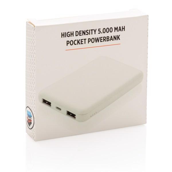 High Density 5.000 mAh Pocket Powerbank - White