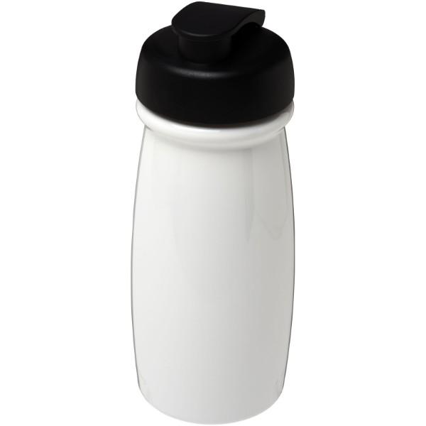 H2O Pulse® 600 ml Sportflasche mit Klappdeckel - Weiss / Schwarz