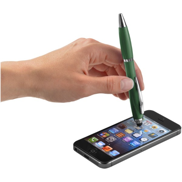 Barevné kuličkové pero a stylus Nash s barevným úchopem - Hunter Green
