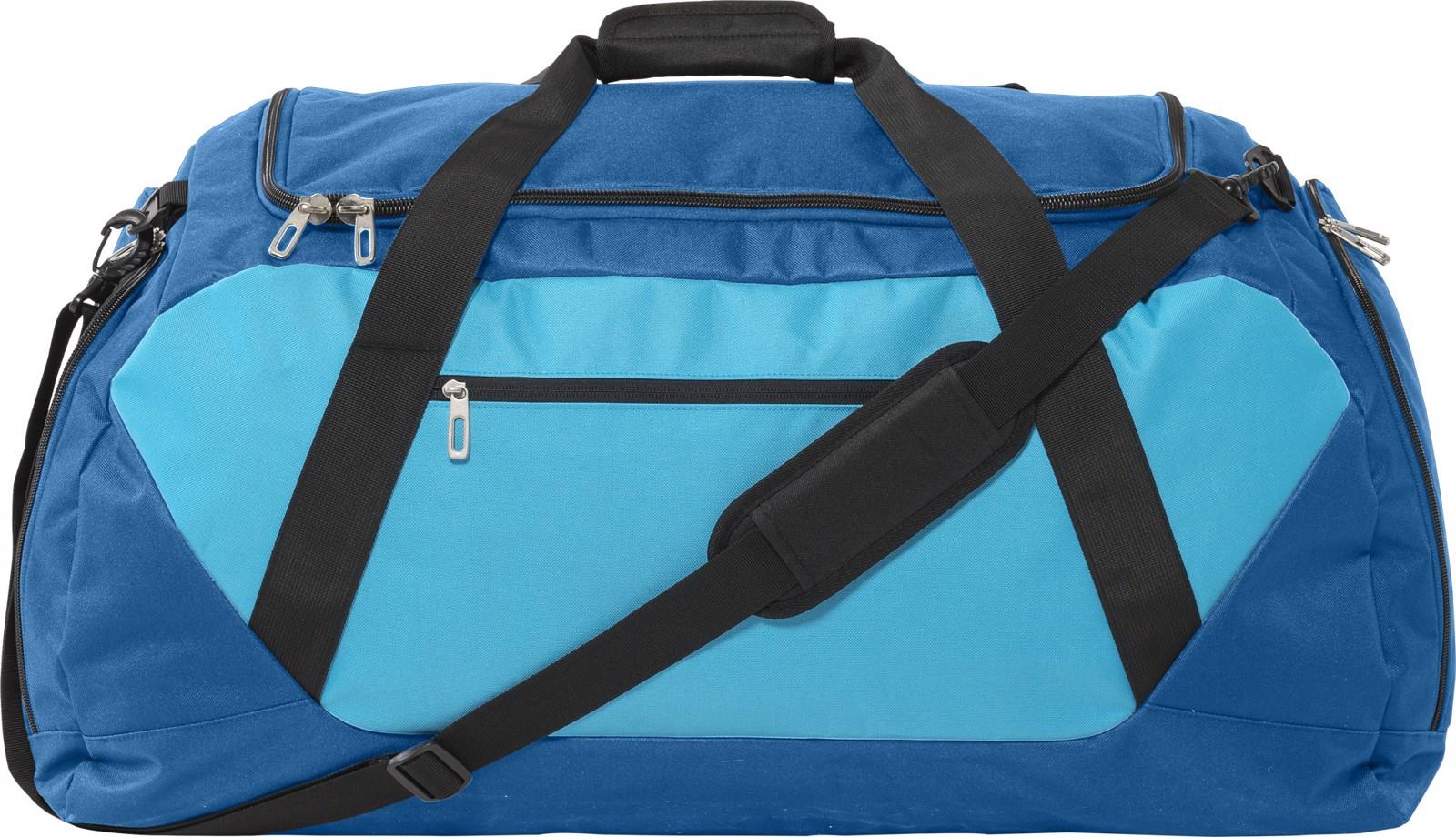Polyester (600D) sports bag - Dark Blue / Light Blue