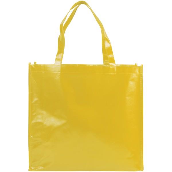 Laminovaná netkaná nákupní odnoska Shiny - Žlutá