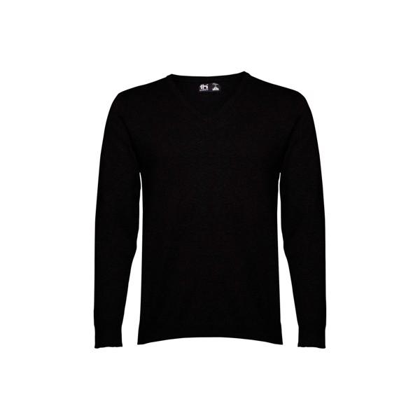 MILAN. Pánský svetr s výstřihem do V - Černá / XL