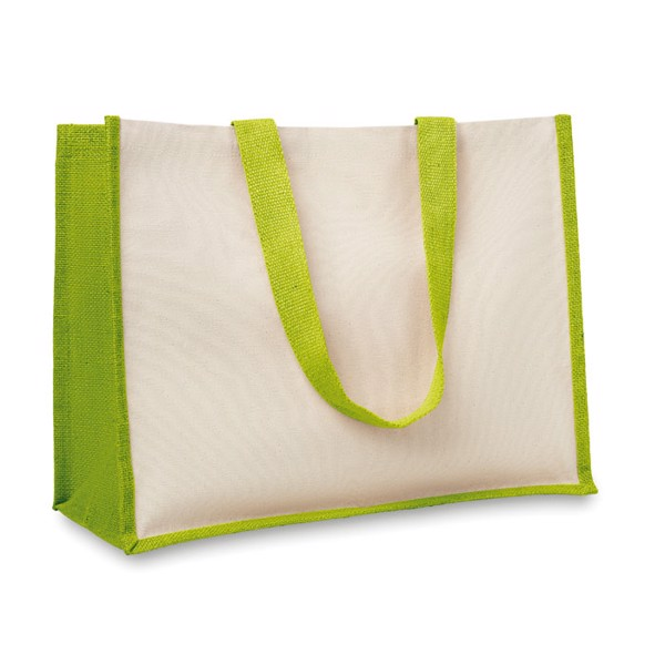 Jute and canvas shopping bag Campo De Fiori - Lime