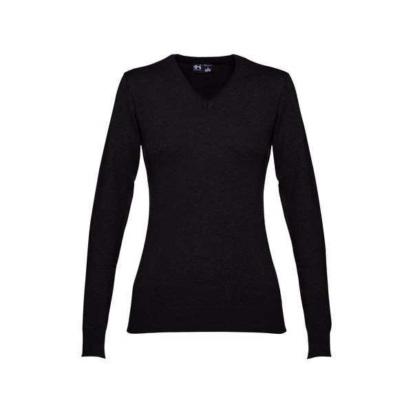 MILAN WOMEN. Women's V-neck jumper - Black / XXL