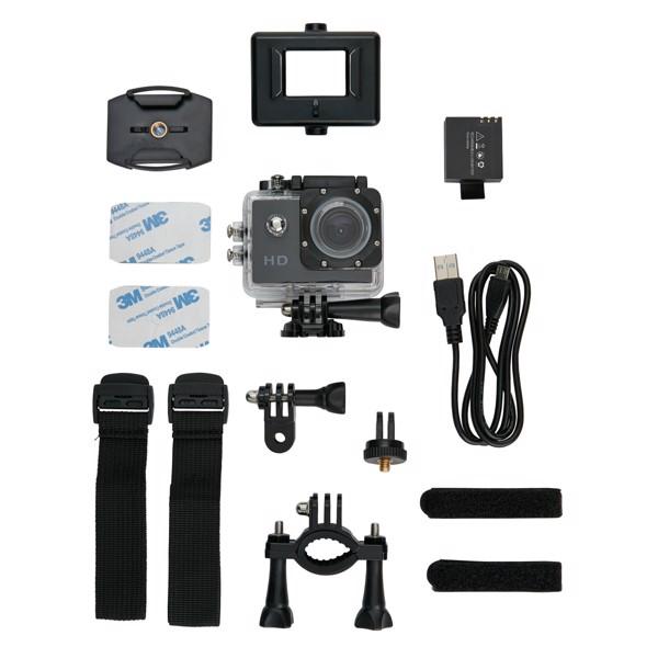Sportkamera 11 tartozékkal - Fekete / Fekete