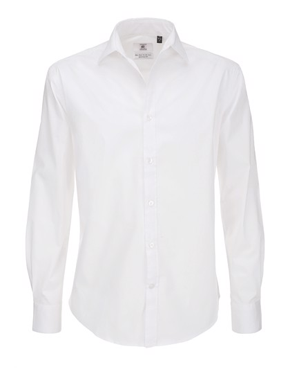 Poplin Shirt Black Tie Long Sleeve / Men - White / 3XL